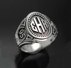 mens monogram ring monogram cigar band mens ring in sterling silver style 015