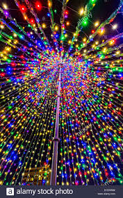 view of the inside of a christmas tree made from lights in