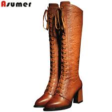 womens boots knee high leather asumer 2018 high quality boots high heels pu genuine