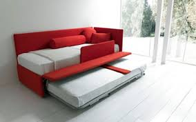 Furniture Red Fabric Trundle Sleeper Sofa With Cushions And - Sofa bolster cushions