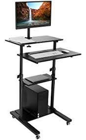 stand up l with shelves amazon com all metal stand up computer cart 24 wide black