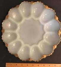 milk glass egg plate milk glass plate gold trim ebay