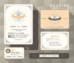 wedding invitations with response cards vintage wedding invitation set design template vector place card