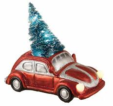 led light up car and truck with lighted bottle brush christmas