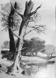 simple pencil sketches of landscapes pencil art drawing