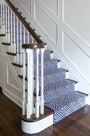 1930s Banister Entry Design W Navy Blue Door Navy U0026 White Striped Stair Runner