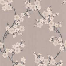 cherry blossom taupe and charcoal wallpaper graham u0026 brown