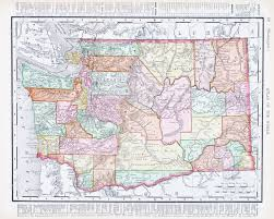 Vintage United States Map by Vintage Map Of Washington State United States 1900 Stock Photo