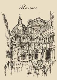 streets florence italy trevi fountain hand drawn stock vector