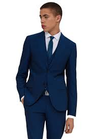 moss london mens peacock blue suit jacket slim fit wool blend two