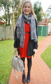 away from blue trench red dress owl scarf heels grey mam