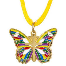 butterfly with cross necklace multicolored