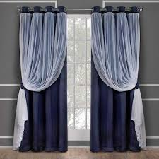 Sheer Navy Curtains Grommet Blue Curtains Drapes Window Treatments The Home