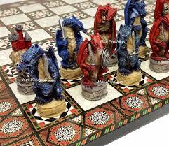 fantasy chess set medieval dragon fantasy red blue chess set w mosaic color board 17
