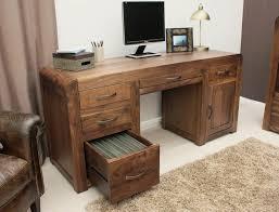 Office Desk Pedestal Drawers Shiro Walnut Twin Pedestal Computer Desk Penthouse Design