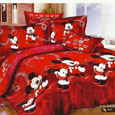 red mickey and minnie mouse bedding sets for christmas holiday