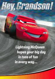 cars lightning mcqueen and mater grandson birthday card greeting