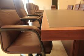 Inexpensive Conference Table Varnished Oak Wood Conference Table Mixed Black Acrylic Chairs And