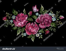 embroidery floral pattern roses butterfly stock vector