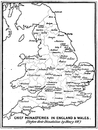 Map Of England And Wales Chief Monasteries In England And Wales Before Their Dissolution By