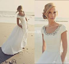 2015 modern wedding dresses with pockets and short sleeves scoop
