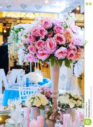 beautiful bouquet of flowers at the wedding table in a restaurant