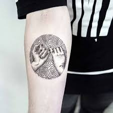 dotwork in moon on inner lower arm