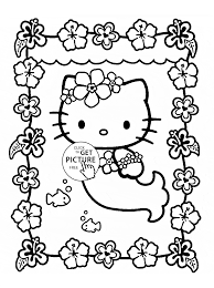 hello kitty is mermaid coloring page for kids for girls coloring