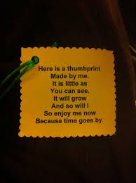 great poem attached to a bell with child u0027s thumbprint on it