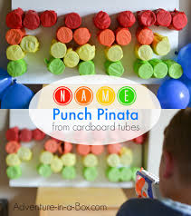 name punch pinata from cardboard rolls adventure in a box