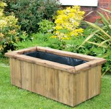 rustic large wooden planter 1190
