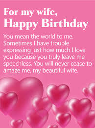 you mean the world to me happy birthday card for wife birthday
