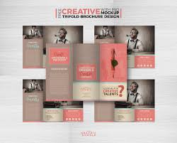 free creative tri fold brochure template with psd mockup