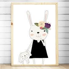 bunny nursery baby floral woodland bunny nursery or bedroom print