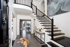 Black Banister Seattle Stair Banister Ideas Entry Traditional With Black Stairs