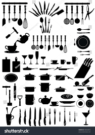 silhouettes kitchen accessories cutlery various types stock vector