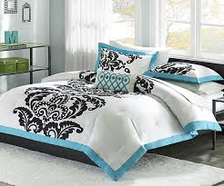 trendy white comforter with blue and black accents photos of fresh