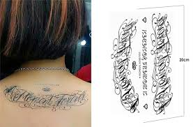 black temporary tattoo words sticker latin english word a moment