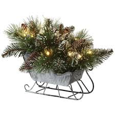 tree branch decorations in the home home decorators collection 12 in glistening pine tabletop sled