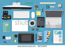 Office Set Design Flat Modern Design Vector Illustration Concept Stock Vector