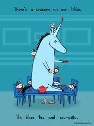 there s a unicorn on our table sebastien millon art illustration