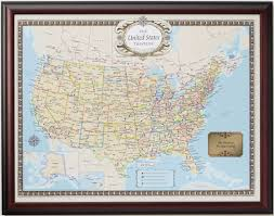 Framed World Map by United States Traveler Push Pin Map Personalized From Onlyglobes
