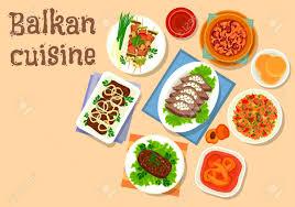 cuisine des balkans cuisine des balkans porc et légumes grillés sur l icône de