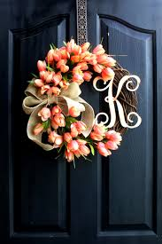 Handmade Easter Door Decorations by Tulip Wreath Wreath For Spring Door Wreaths By Oursentiments