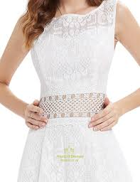 cute short white lace fit and flare dresses with sheer cut out