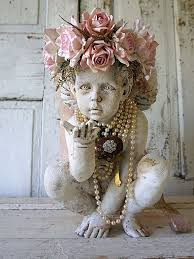 cherub statue adorned pink rose crown shabby cottage chic