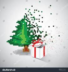 christmas tree gift pixel style pixel stock vector 723155380