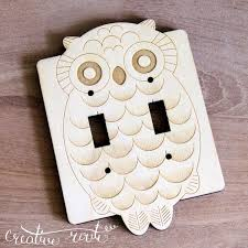 wood laser cut owl light switch plate switch small