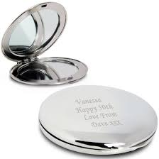 wedding gift engraving quotes personalised silver finish engraved compact mirror gift 18th