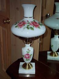 white milk glass hurricane table lamp vintage parlor light